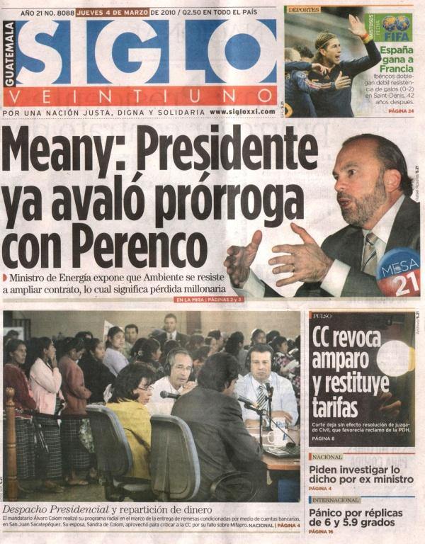 Portada Siglo 21 con Carlos Meany