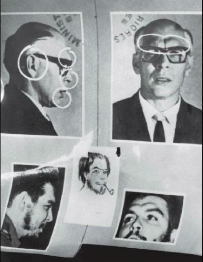 Abajo, cómo lucía Ernesto Guevara después de haberse hecho cirugía plática. Parece un gringo, con pelo rubio, mucho más gordo, lleva sombrero, anteojos gruesos, Prótesis bucal y zapatos que aumentaban su estatura.