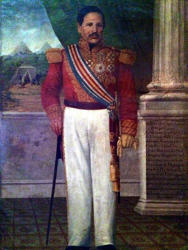 General Rafael Carrera y Turcios Presidente Vitalicio de la República de Guatemala.Nótese que la banda que luce en el pecho tienelos colores de la antigua bandera instituida en 1858.